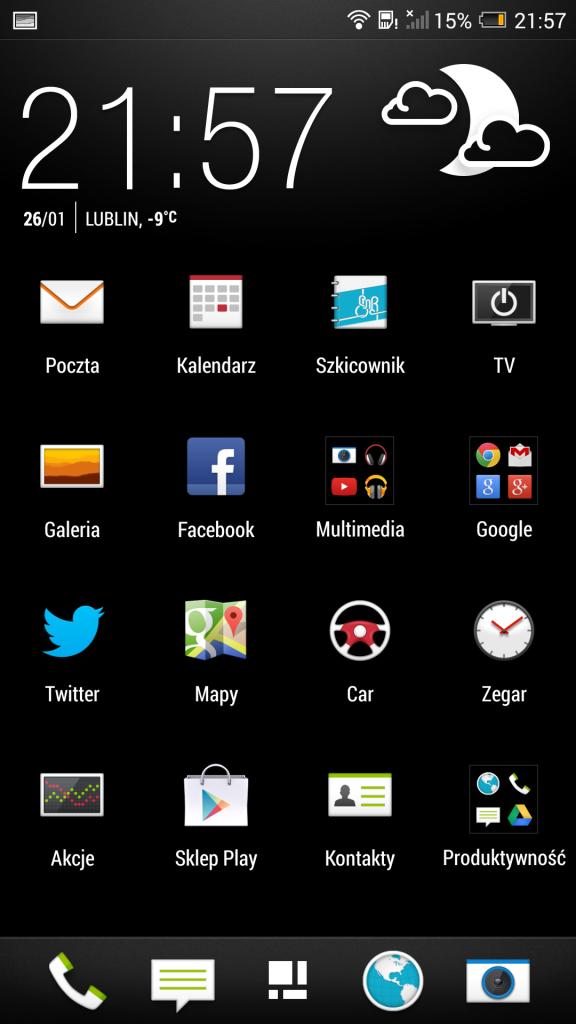 Szuflada aplikacji HTC One Max