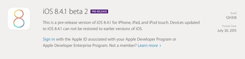 iOS 8.4.1 beta 2